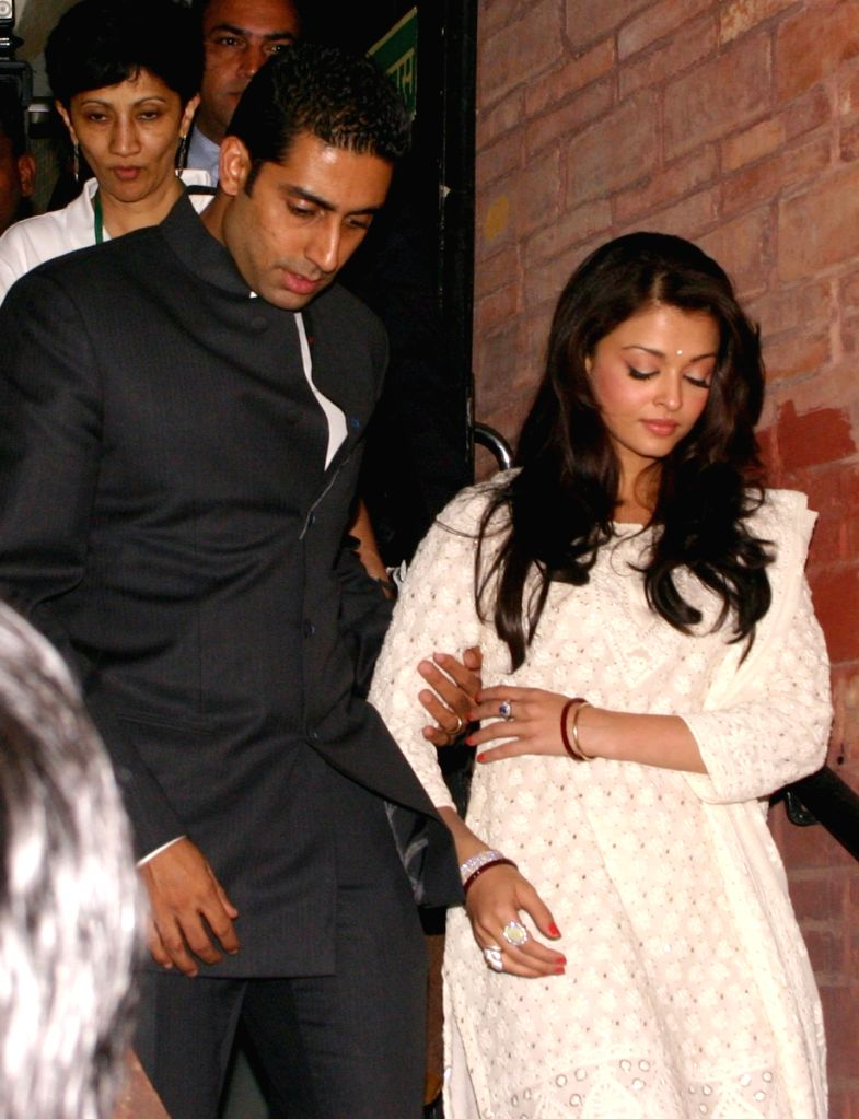 Bollywood star Abhishek  Bachchan and Ashawarya Rai Bachchan at IHC, in New Delhi on Tuesday.