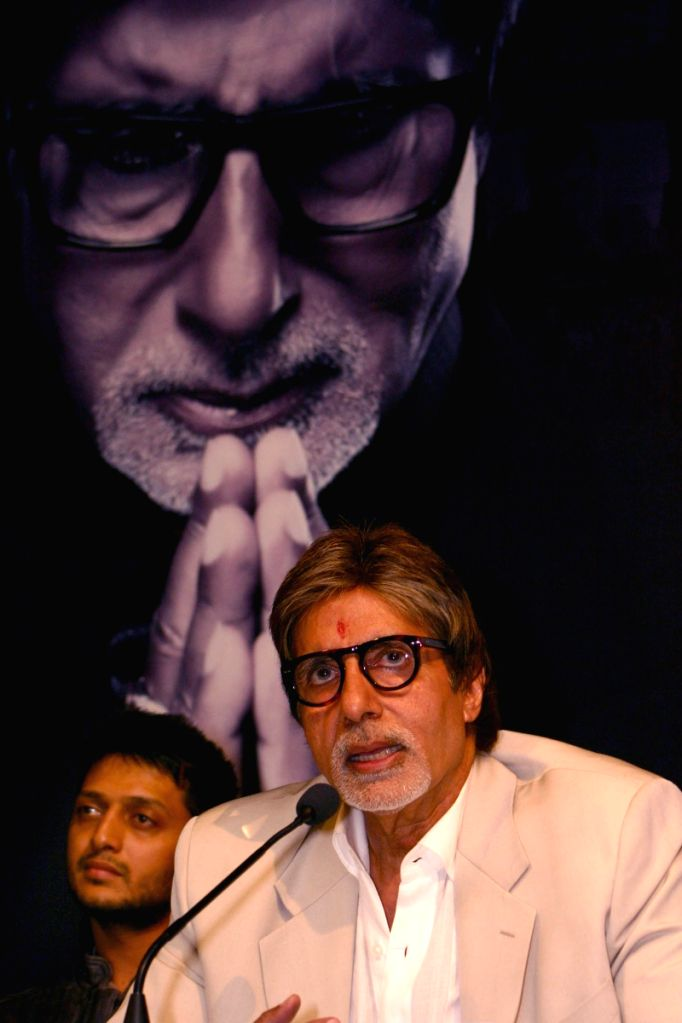 "Bollywood star Amitabh Bachchan at a press-meet for the film ""Rann"" in New Delhi on Wednesday."