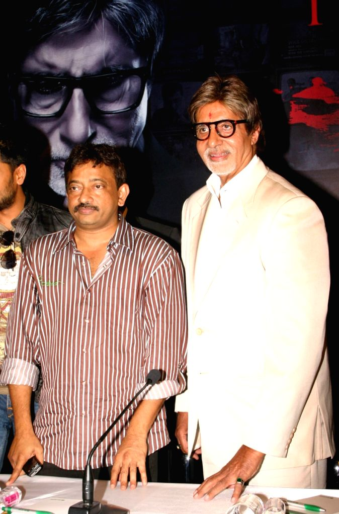"Bollywood star Amitabh Bachchan with director Ram Gopal Verma at a press-meet for the film ""Rann"" in New Delhi on Wednesday."