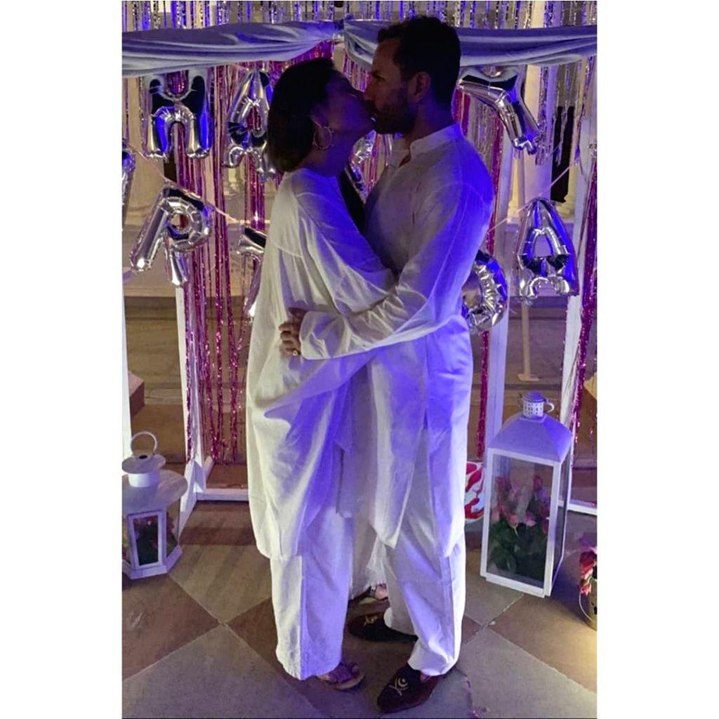 "Bollywood star Kareena Kapoor cut the birthday cake on September 21. In a viral video, Kareena's husband Saif Ali Khan, son Taimur and sister Karisma Kapoor are among guests wishing the ""Veere Di Wedding"" actress. Kareena is seen cutting the cake as  - Kareena Kapoor, Saif Ali Khan and Karisma Kapoor"