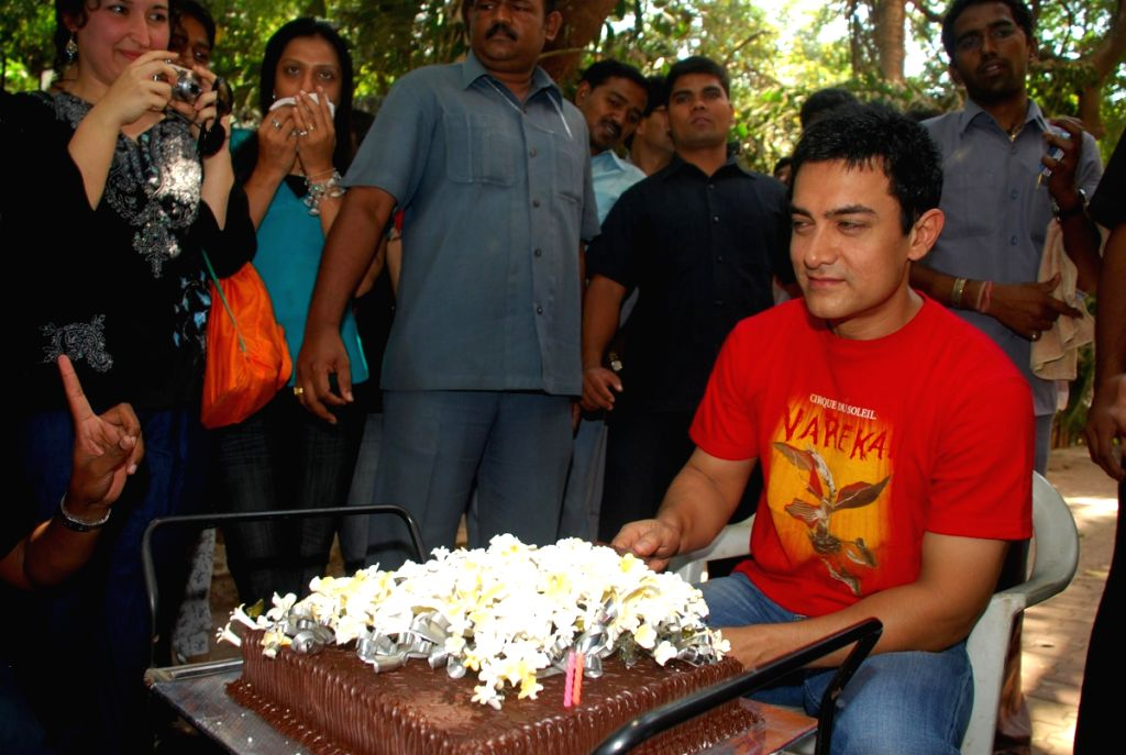 Bollywood superstar Aamir khan at his 44th birthday celeberations.
