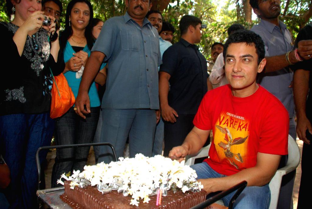 Bollywood superstar Aamir khan at his 44th birthday celebrations.