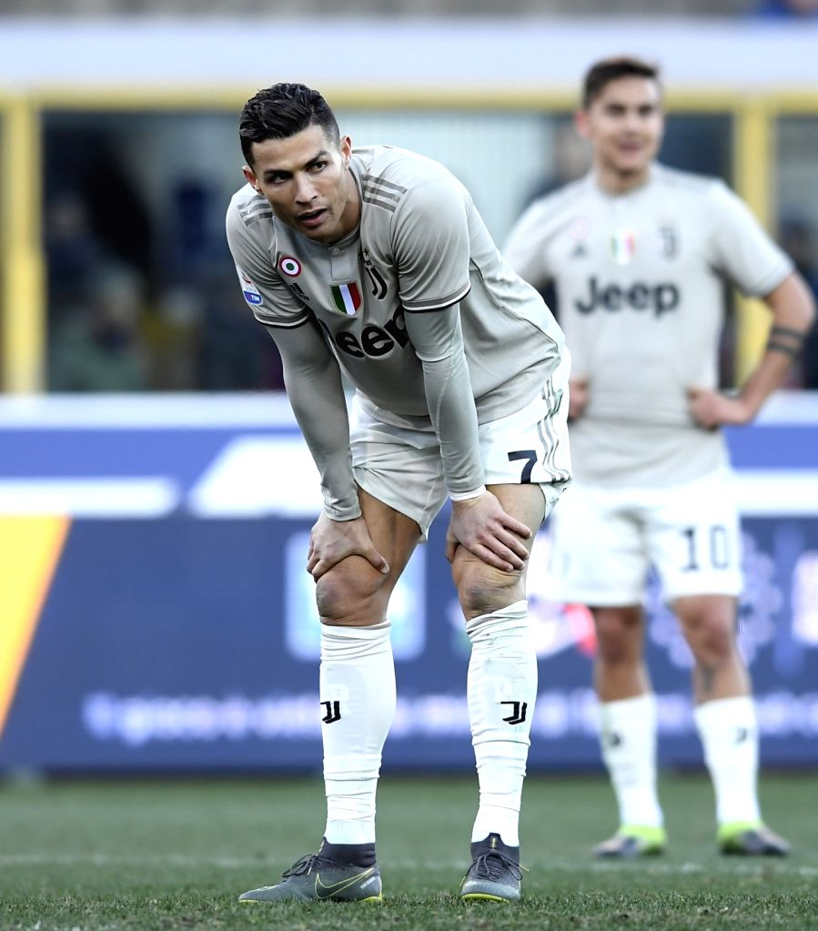BOLOGNA, Feb. 25, 2019 - Juventus's Cristiano Ronaldo reacts during a Serie A soccer match between Bologna and FC Juventus in Bologna, Italy, Feb. 24, 2019. FC Juventus won 1-0.