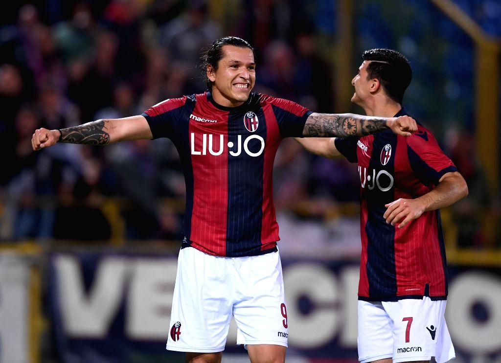 BOLOGNA, May 26, 2019 - Bologna's Federico Santander(L) celebrates his goal during a Serie A soccer match between Bologna and Napoli in Bologna, Italy, May 25, 2019. Bologna won 3-2.