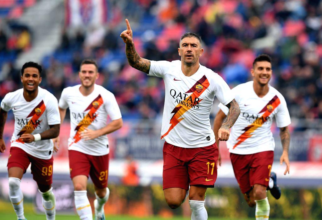BOLOGNA, Sept. 23, 2019 - Roma's Aleksandar Kolarov (2nd R) celebrates his goal during a Serie A soccer match between Bologna and Roma in Bologna, Italy, Sept. 22, 2019.