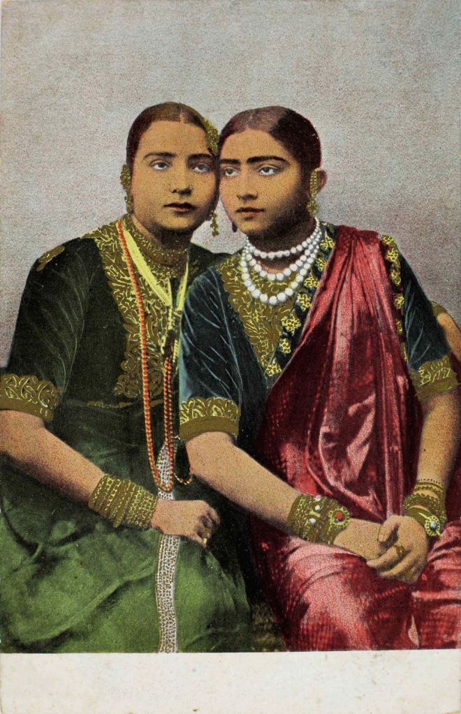 : Bombay Beauties [Young Gohar Jan (right) and her mother, Malka Jan]; The Phototype Co., Mumbai, c. 1905; Coloured halftone, Divided back. (Photo Source: Omar Khan Collection).