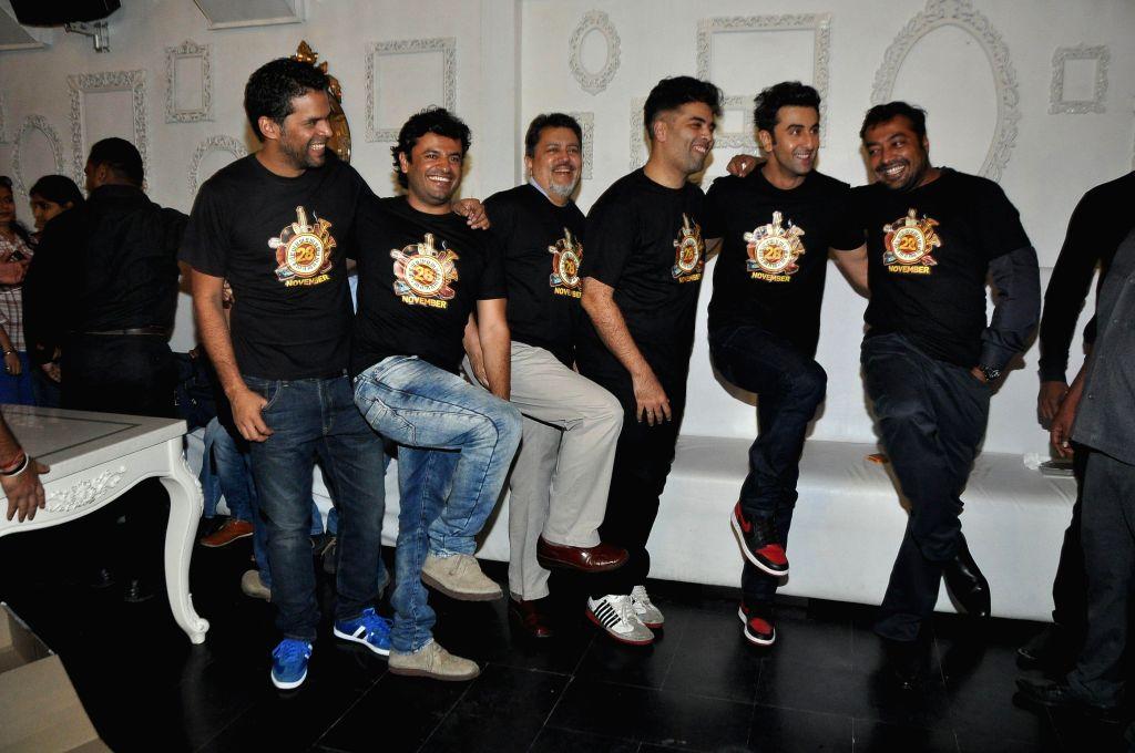 Bombay Velvet team actor Ranbir Kapoor, filmmakers Anurag Kashyap, Karan Johar, Vikramaditya Motwane and Vikas Bahl during the film`s wrap-up bash in Mumbai on April 16, 2014. - Ranbir Kapoor, Karan Johar and Anurag Kashyap