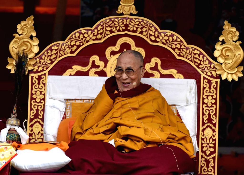 Bomdila: Tibetan spiritual leader Dalai Lama delivers sermon at Buddha Stadium in Bomdila, Arunachal Pradesh on April 5, 2017. (Photo: IANS)