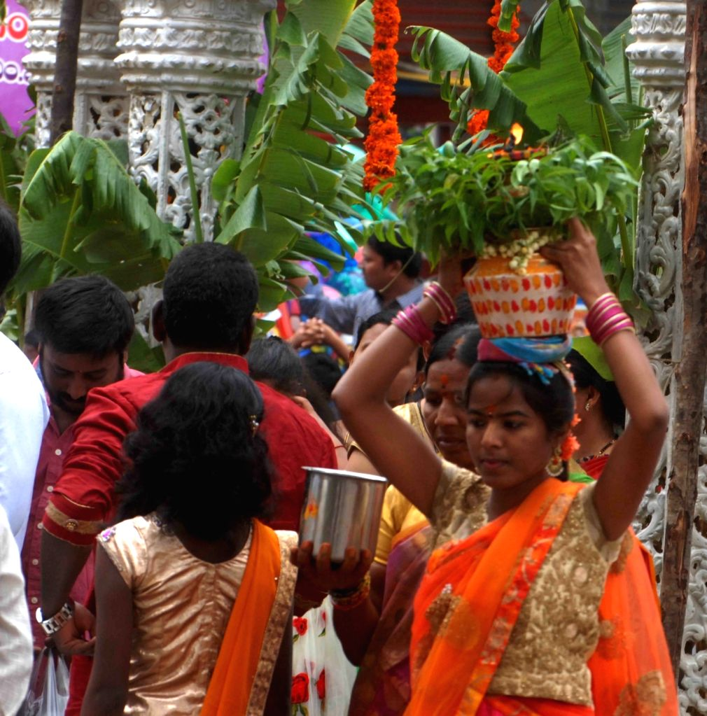 Bonalu celebrations underway at Sri Ujjaini Mahakali Devasthanam in Hyderabad on July 28, 2019.