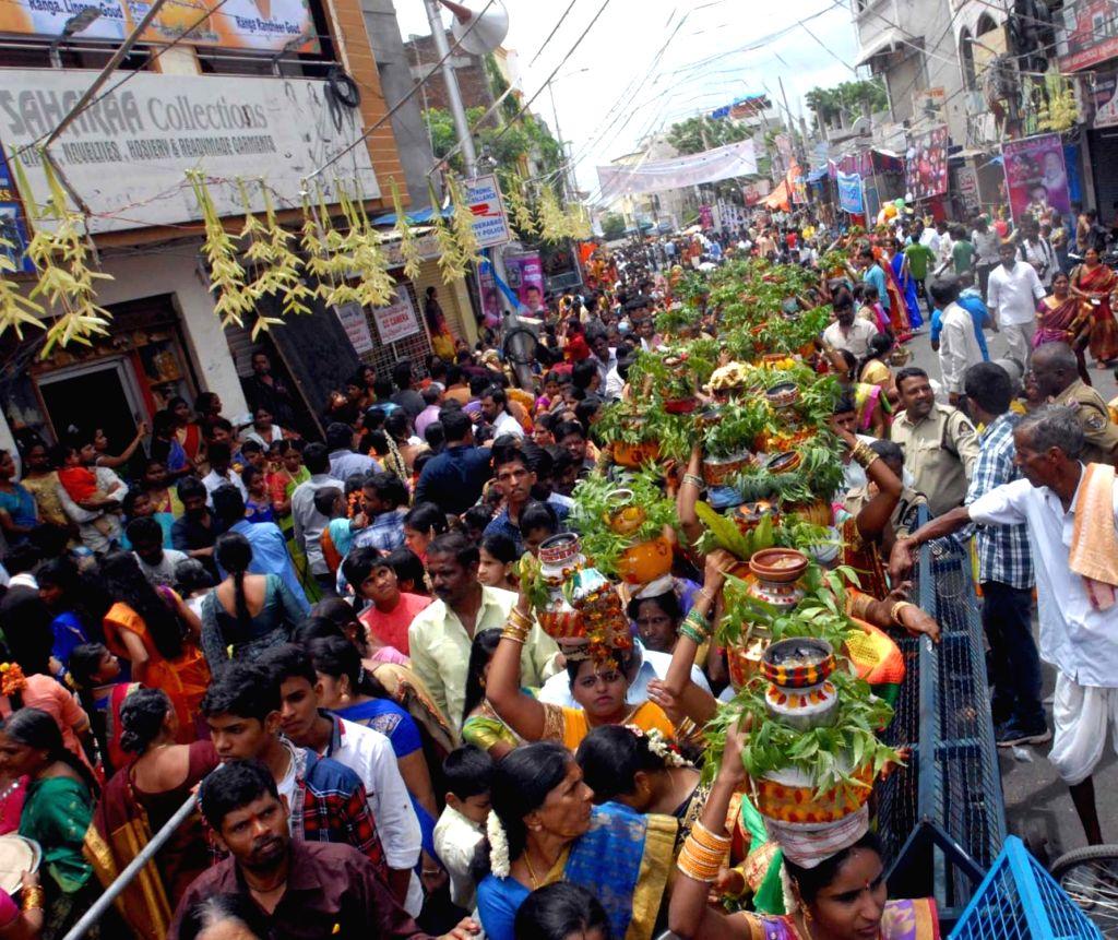 Bonalu festival celebrations underway in Hyderabad on Aug 5, 2018.