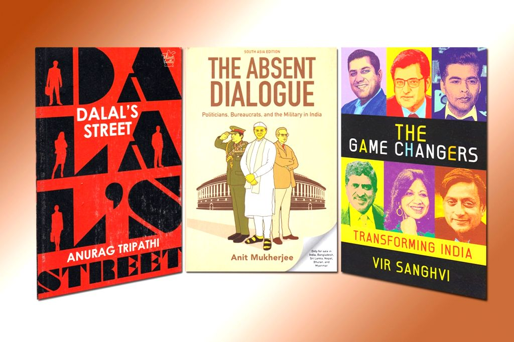 "Book cover of ""Dalal's Street"" by Anurag Tripathi; Book cover of ""The Absent Dialogue - Politicians, Bureaucrats and the Military in India"" by Anit Mukherjee; Book cover of ... - Anurag Tripathi and Anit Mukherjee"
