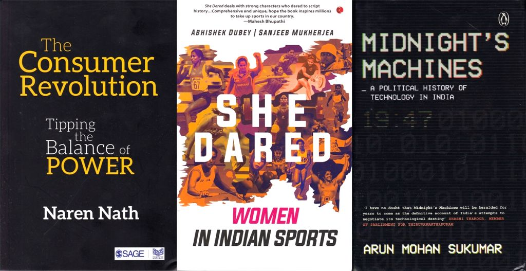 Book Covers: Midnight's Machines - A Political History Of Technology in India; The Consumer Revolution - Tipping the Balance of Power; She Dared - Women In Indian Sports.