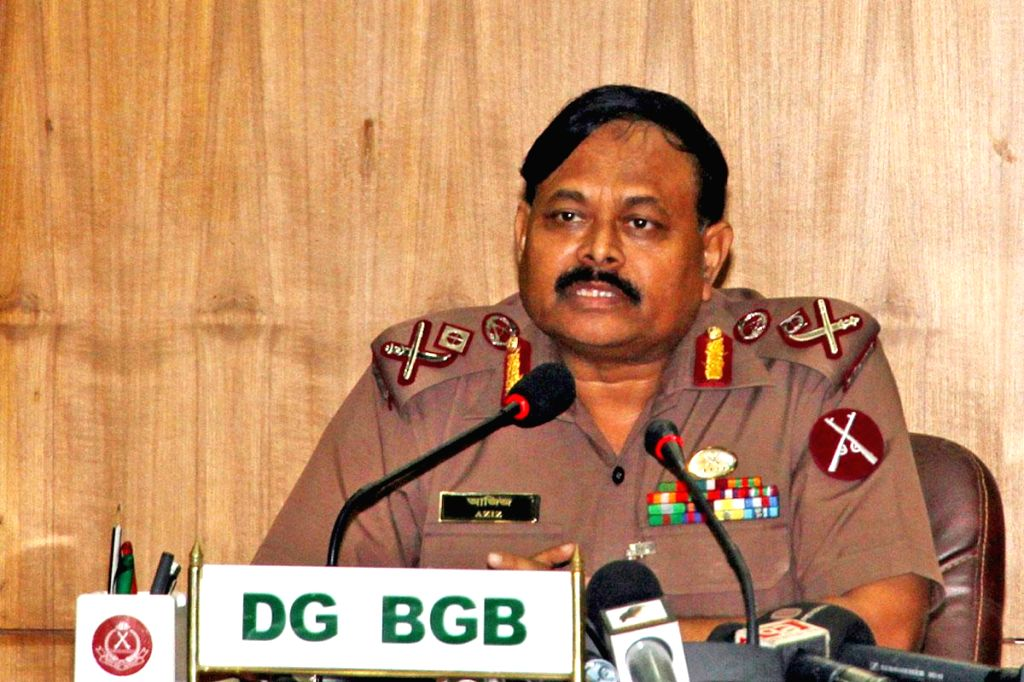 Border Guard Bangladesh chief Maj Gen Aziz Ahmed during a press conference at BGB headquarters after returning from New Delhi where he attended a border coordination meeting, in Dhaka, Bangladesh on .