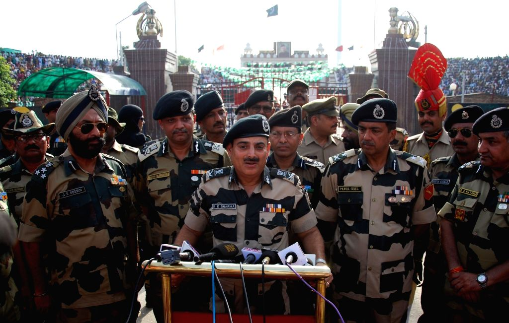 Border Security Force (BSF) Director General (DG) KK Sharma addresses on Independence Day at Attari-Wagha border in Punjab, on Aug 15, 2017.