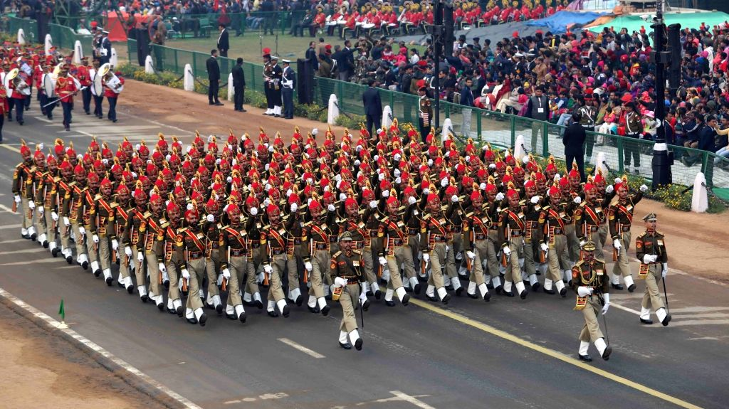 Border Security Force marching contingent passing through Rajpath during the full dress rehearsal for the Republic Day Parade 2018, in New Delhi on Jan 23, 2018.