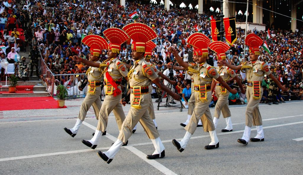 Border Security Force personnel march on India's Independence Day at Attari-Wagha border in Punjab, on Aug 15, 2017.