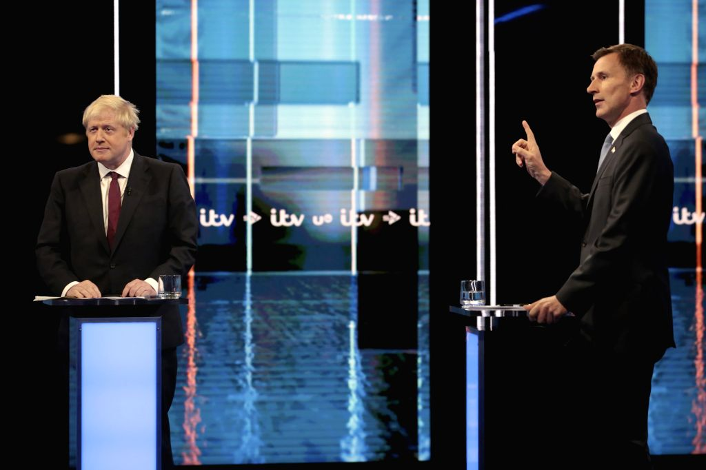 Boris Johnson and Jeremy Hunt (L-R).  (Photo by Matt Frost/ITV via Xinhua/IANS)
