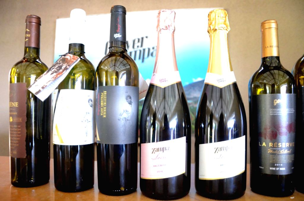 """Bottles of wine on display during """"Indian Wine Festival"""" jointly organised by """"Indian Grapes Harvest"""" and Maharashtra Tourism Development Corporation (MTDC) in Nasik on Feb ..."""