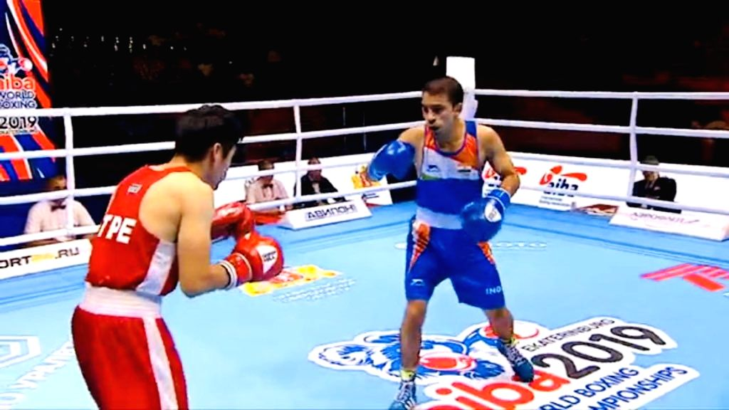 Boxer Amit Panghal in action.