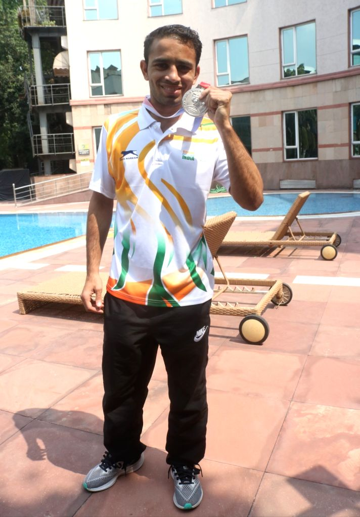 Boxer Amit Panghal, who clinched a Silver at the Men's World Boxing Championships; during an interactive session, in New Delhi on Sep 23, 2019.