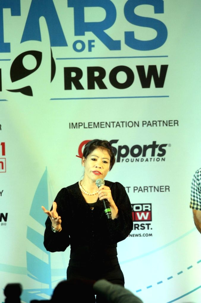 Boxer M.C. Mary Kom addresses at the launch of 'Stars of Tomorrow' (SOT) - an athlete support programme introduced by Indian Federation of Sports Gaming (IFSG) in Mumbai, on Dec 5, 2018. - Mary Kom