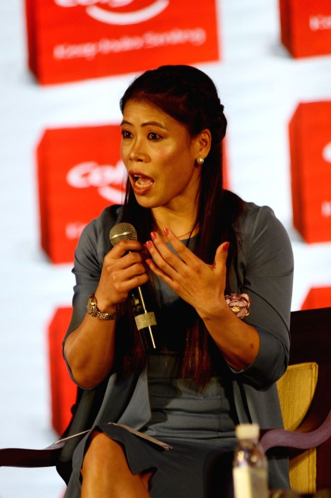 """Boxer MC Mary Kom addresses at the launch of """"Keep India Smiling Mission"""" in New Delhi, on June 6, 2019. - Mary Kom"""