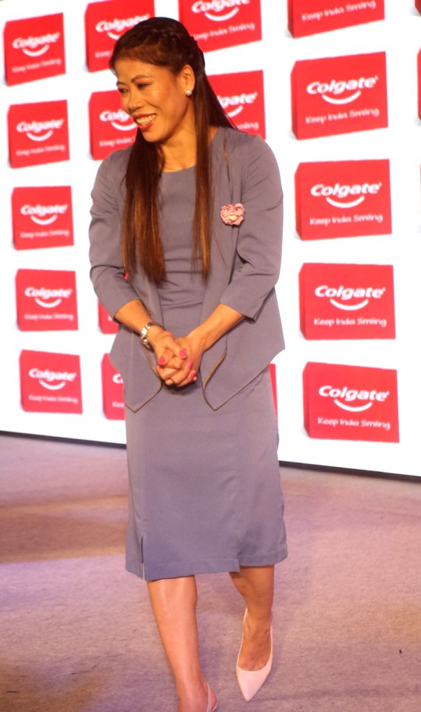 """Boxer MC Mary Kom at the launch of """"Keep India Smiling Mission"""" in New Delhi, on June 6, 2019. - Mary Kom"""