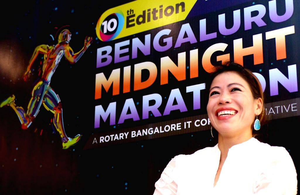 Boxer MC Mary Kom during a press conference to announce the 10th Edition of the Bengaluru Midnight Marathon 2016 in Bengaluru on Nov 15, 2016. - Mary Kom
