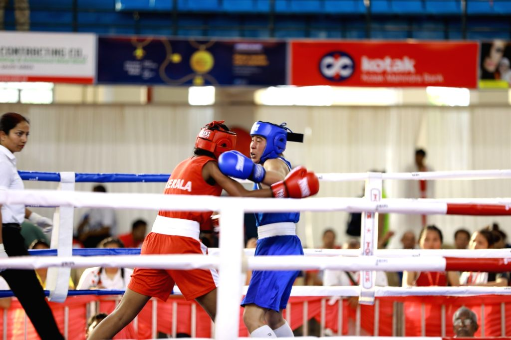 Boxers in action on the second day of 4th Elite Women's National Boxing Championships at the Mundayad Indoor Stadium in Kannur, Kerala on Dec 3, 2019.