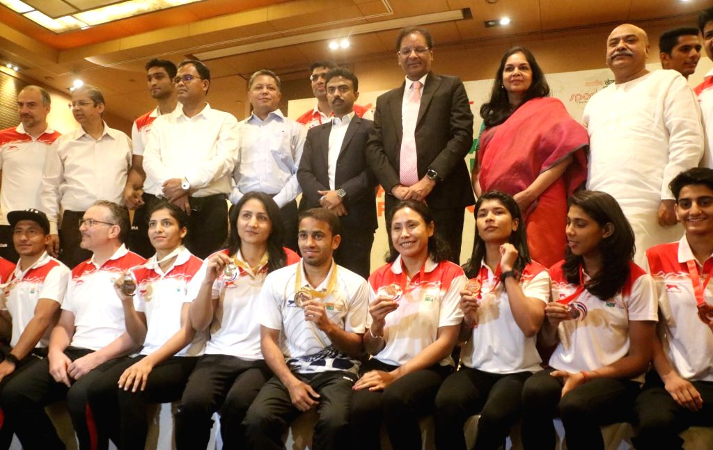 Boxing Federation of India President Ajay Singh during a programme organsied to felicitate Asian Boxing Championship medalists in New Delhi on April 30, 2019. - Ajay Singh