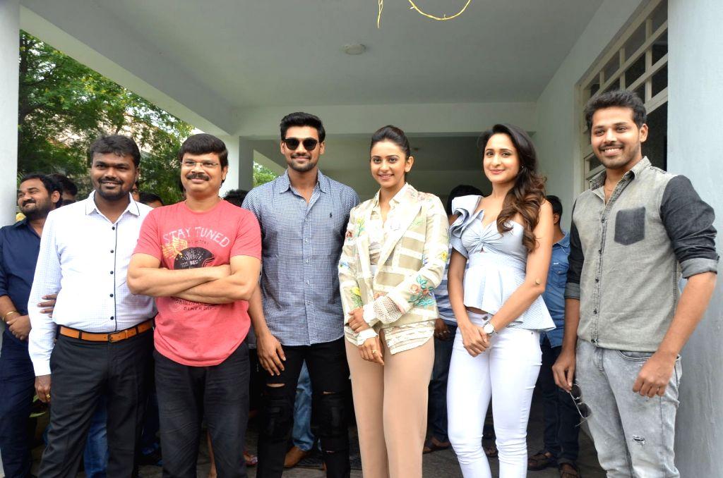 "Boyapati Srinu, Bellamkonda Srinivas, Rakul Preeth SIngh, Pragya Jaiswal, Nandu stills from Telugu film ""Jaya Janaki Nayaka "" in Hyderabad."