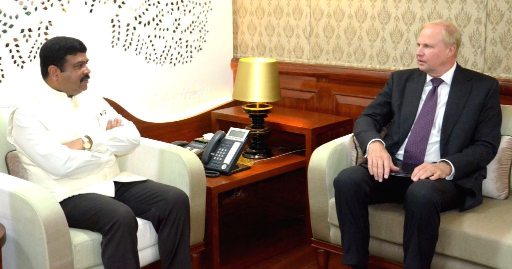 BP CEO Bob Dudley calls on the Minister of State for Petroleum and Natural Gas (Independent Charge) Dharmendra Pradhan, in New Delhi on July 15, 2015.