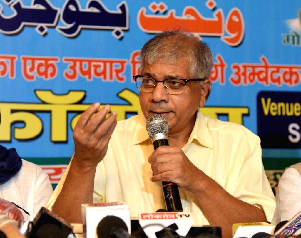 BR Ambedkar's grandson and former MP Prakash Yahwant Rao addresses a press conference in Patna on Sep 23, 2020. - Prakash Yahwant Rao