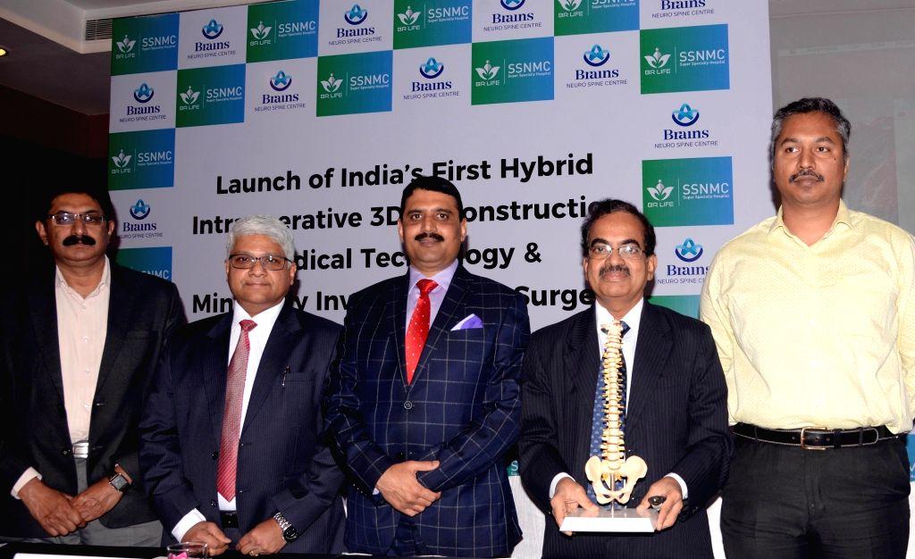 BR Life SSNMC Super Specialty Hospital Founder N K Venkataramana, Chief Neurosurgeon Krishna Chaitanya, Consultant Neurosurgeon Hemraj Singh Parmer and Group CEO Ajoy Raj Malpe during a ...