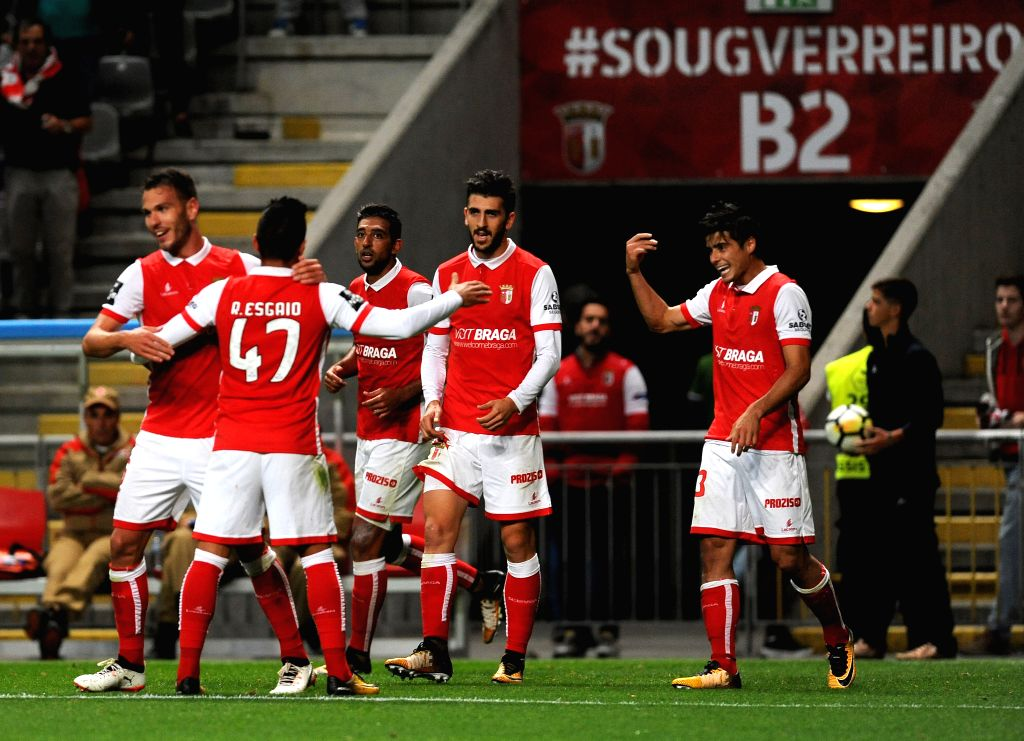 BRAGA, Sept. 18, 2017 - Braga's players celebrate after scoring their second goal during the 2017/2018 Portuguese League soccer match against Viotria Guimaraes at Braga Municipal Stadium in Braga, ...