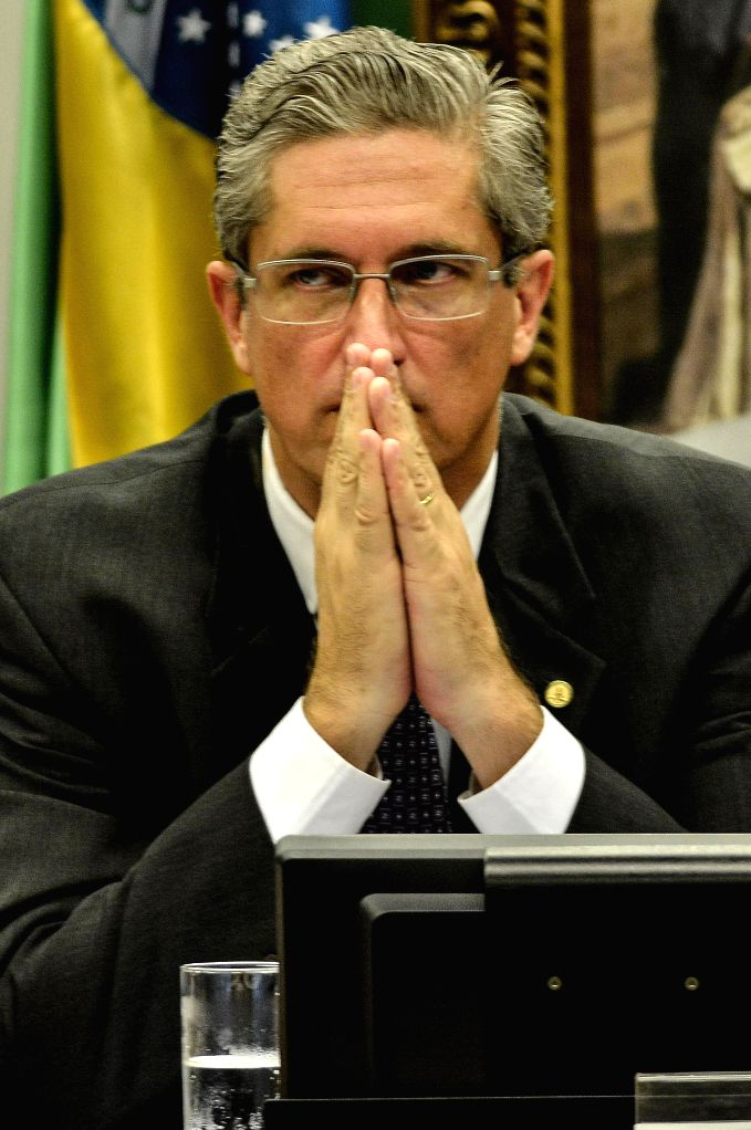 BRASILIA, April 12, 2016 - President of the parliamentary committee Rogerio Rosso reacts during a session of the parliamentary committee at the Chamber of the Deputies in Brasilia, Brazil, on April ...