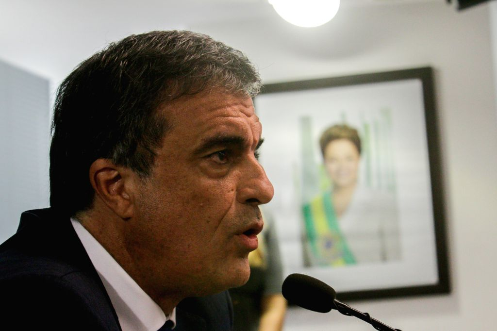 BRASILIA, April 15, 2016 - Brazil's Attorney General Jose Eduardo Cardozo addresses a press conference on the presentation of an appeal to the Supreme Court to cancel the April 17 voting of the ...