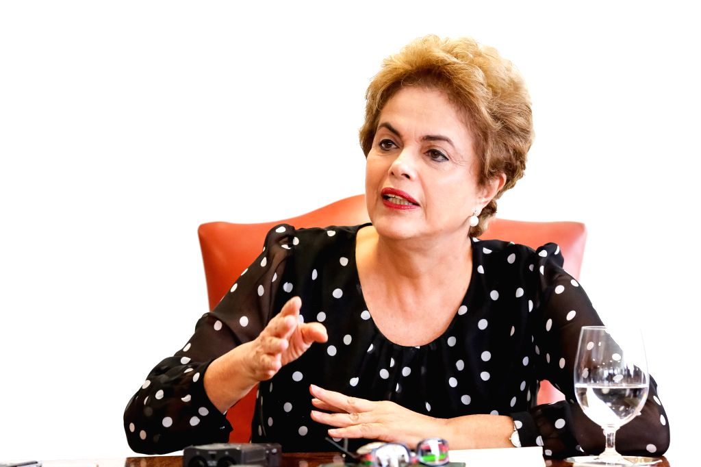 BRASILIA, April 18, 2016 - Brazilian President Dilma Rousseff speaks at a press conference in Brasilia, capital of Brazil, April 13, 2016. Brazil's Chamber of Deputies voted in favor of impeaching ...