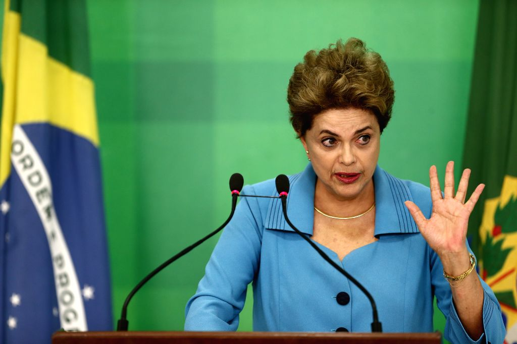 BRASILIA, April 18, 2016 - Image provided by Brazil's Presidency shows Brazilian President Dilma Rousseff making a statement at the Planalto Palace in Brasilia, Brazil, on April 18, 2016. The ...