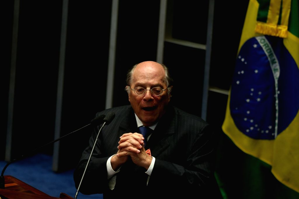 BRASILIA, Aug. 10, 2016 - Miguel Reale Junior, one of the authors of the petition for impeaching Brazil's suspended President Dilma Rousseff, delivers a speech during a session of the Brazilian ...