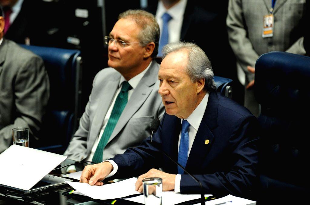 BRASILIA, Aug. 10, 2016 - President of the Brazilian Supreme Court Ricardo Lewandowski attends a session of the Brazilian Senate in Brasilia on Aug. 9, 2016. The Brazilian Senate decided Wednesday to ...