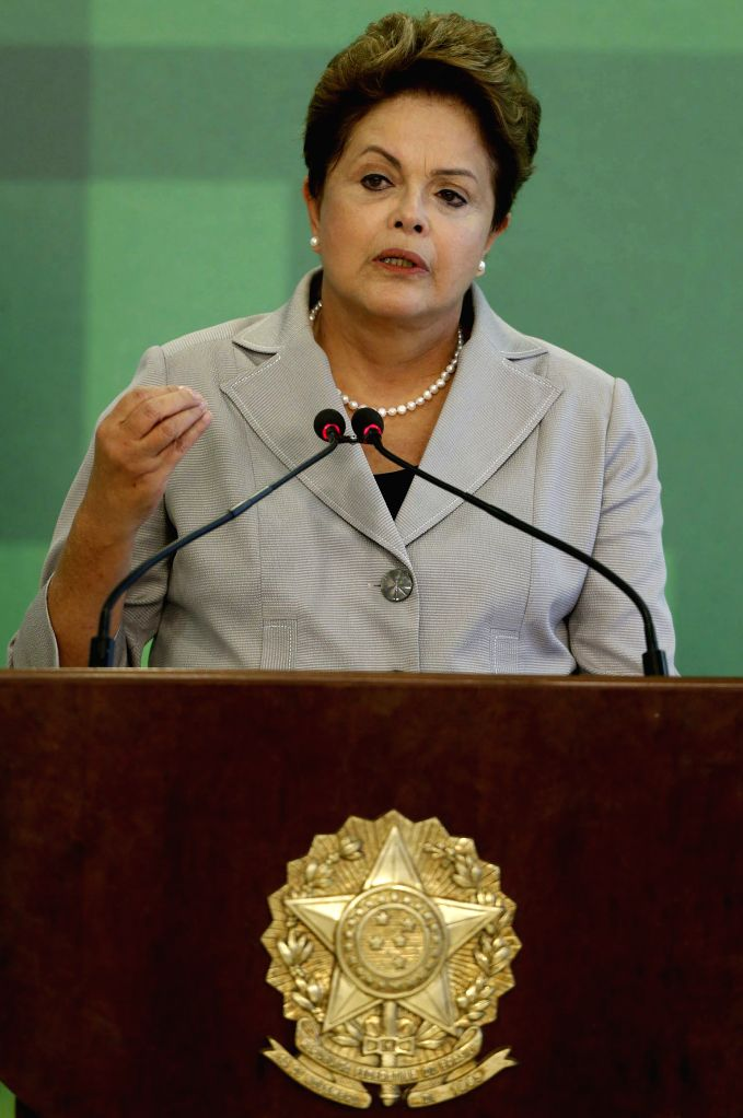 The Brazilian President Dilma Rousseff, delivers a speech on the air accident in which the presidential candidate for the Socialist Party of Brazil (PSB, its ...