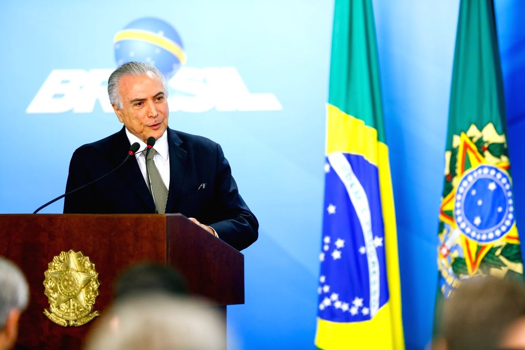 BRASILIA, Aug. 2, 2016 - Photo provided by the Brazilian Presidency shows Brazil's interim President Michel Temer delivering a speech during the announcement ceremony of the U.S. market opening for ...
