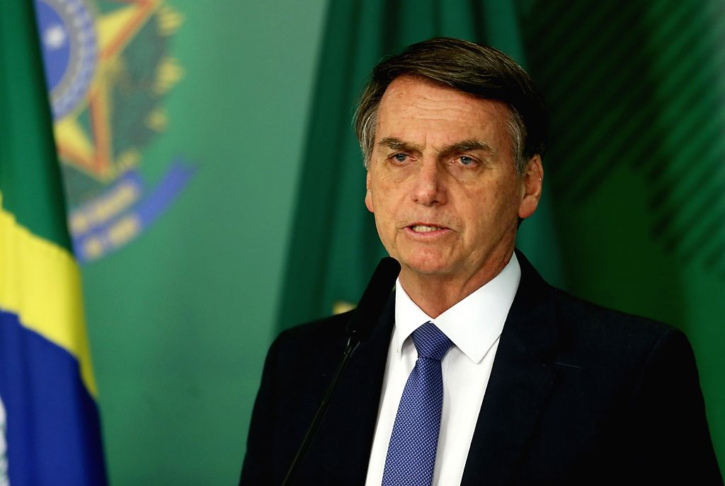 BRASILIA, Jan. 26, 2019 - Brazil's President Jair Bolsonaro attends a press conference on the collapse of a dam, at Planalto Palace, in Brasilia, capital of Brazil, on Jan. 25, 2019. At least seven ...