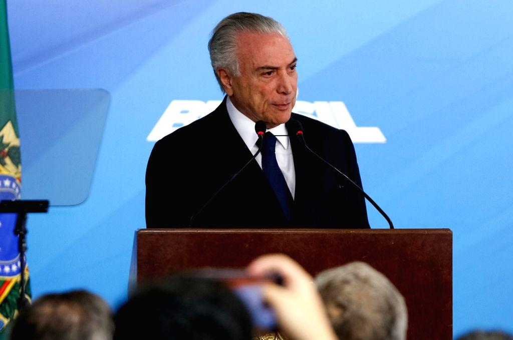 BRASILIA, June 27, 2017 - Photo provided by Brazil's Presidency shows Brazilian President Michel Temer delivering a speech during a ceremony in Brasilia, capital of Brazil, on June 26, 2017. Brazil's ...