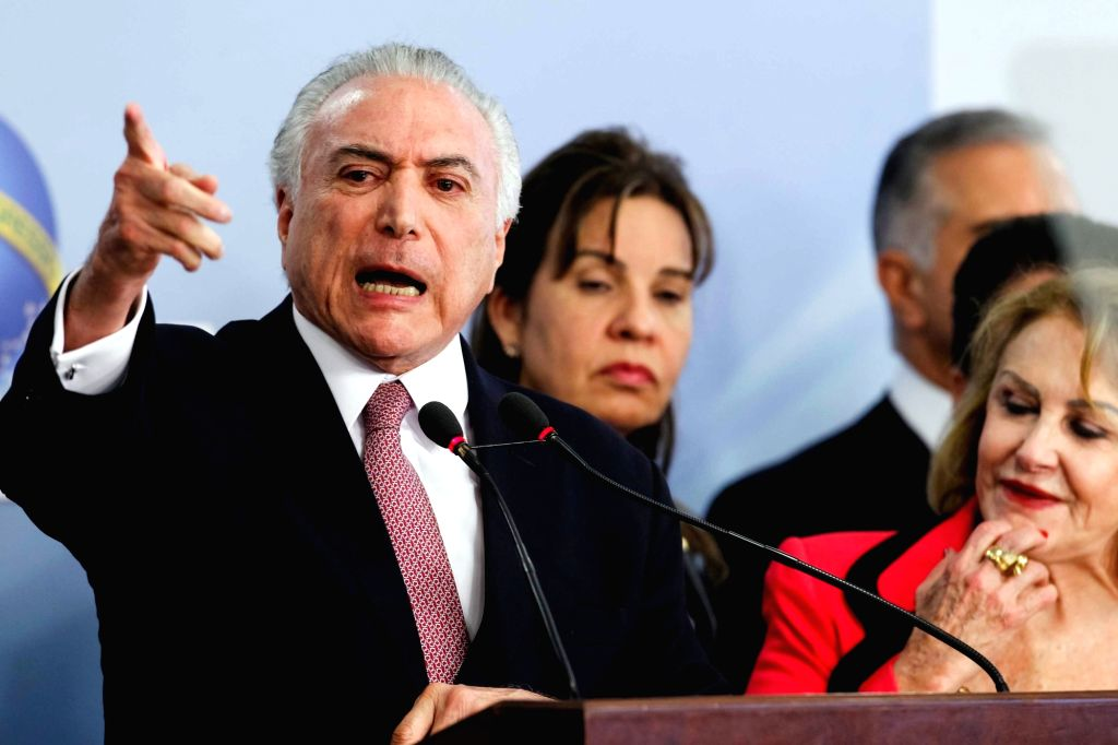 BRASILIA, June 28, 2017 - Image provided by the Presidency of Brazil shows Brazilian President Michel Temer attending a press conference in Brasilia, Brazil, on June 27, 2017. Brazil's President ...