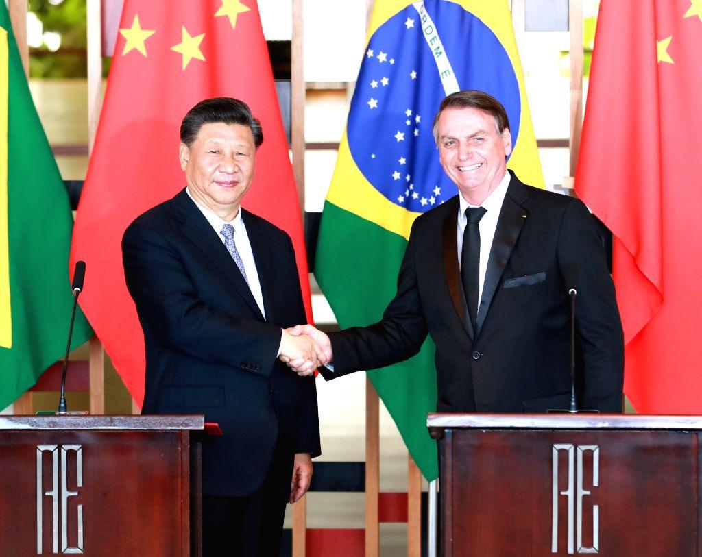 BRASILIA, Nov. 13, 2019 - Chinese President Xi Jinping holds talks with Brazilian President Jair Bolsonaro in Brasilia, Brazil, Nov. 13, 2019.