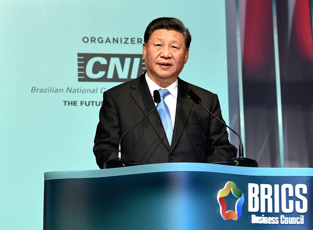 BRASILIA, Nov. 13, 2019 - Chinese President Xi Jinping speaks at the closing ceremony of the BRICS business forum in Brasilia, Brazil, Nov. 13, 2019.