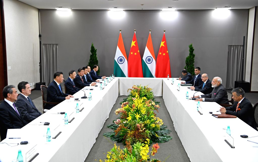 BRASILIA, Nov. 13, 2019 - Chinese President Xi Jinping meets with Indian Prime Minister Narendra Modi in Brasilia, Brazil, Nov. 13, 2019. - Narendra Modi