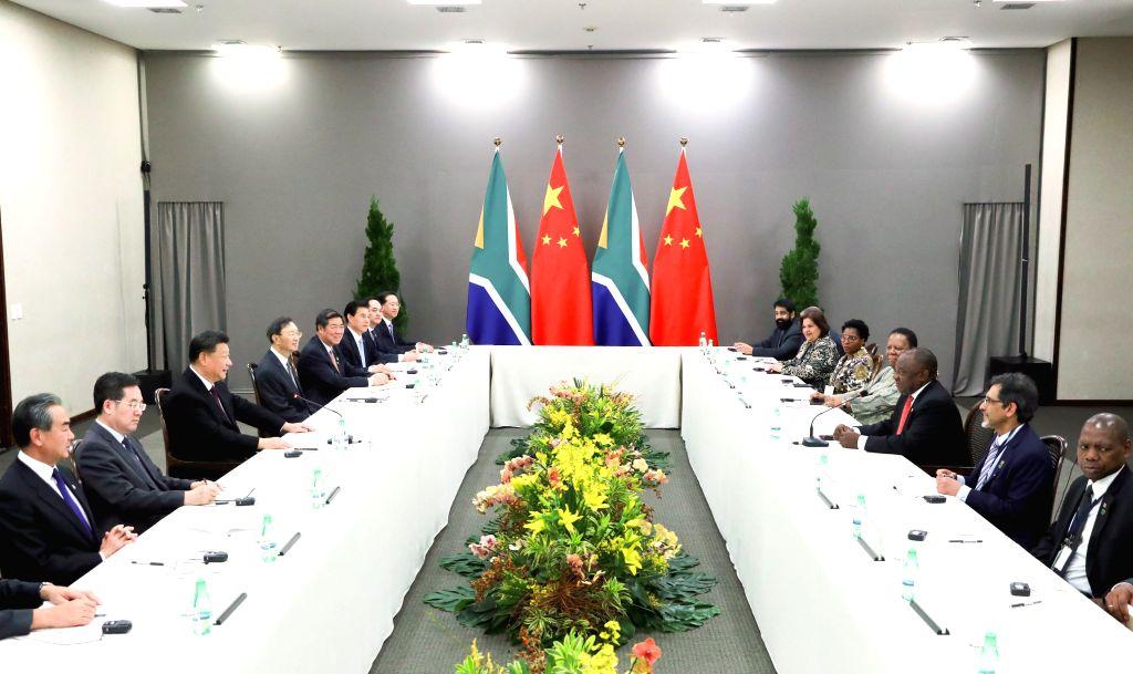 BRASILIA, Nov. 14, 2019 - Chinese President Xi Jinping meets with South African President Cyril Ramaphosa in Brasilia, Brazil, Nov. 14, 2019.